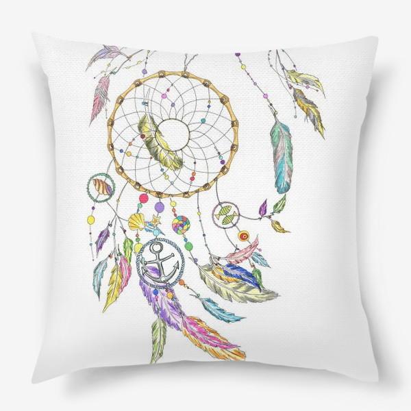 Подушка «Ловец снов на белом»