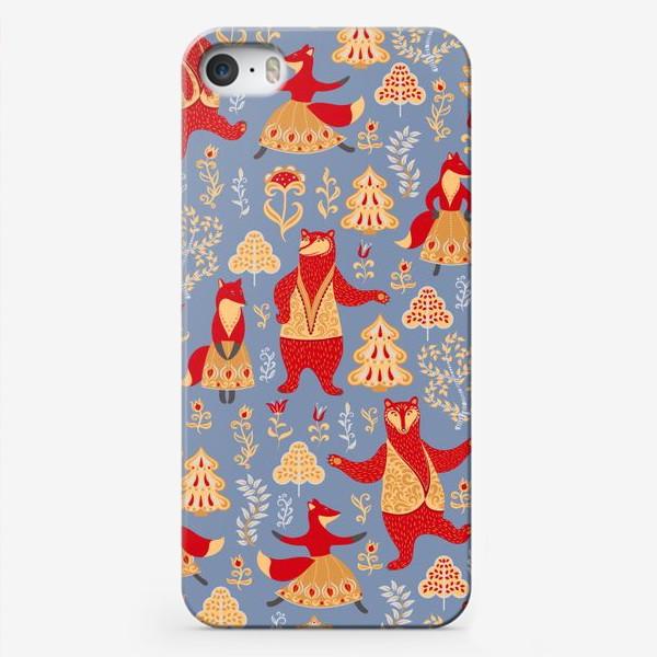 Чехол iPhone «Танцующие медведи и лисы. Фольклорный стиль. »