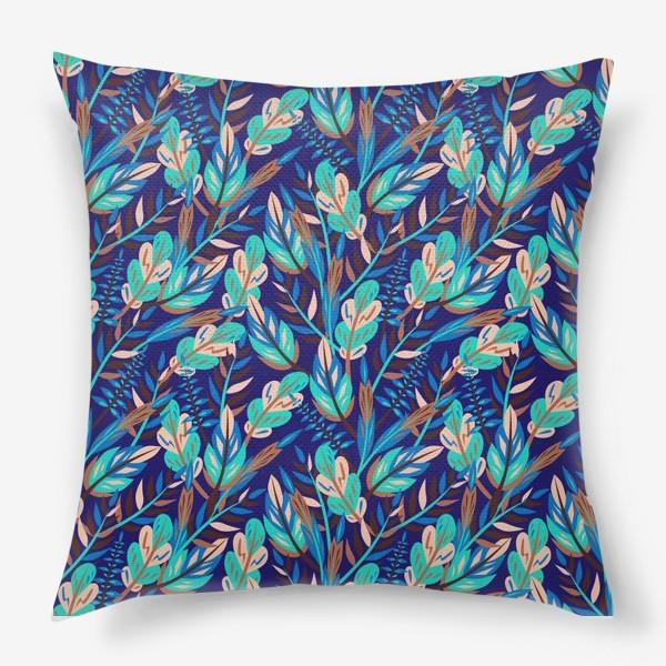 Подушка «Весенние листья в синеве»