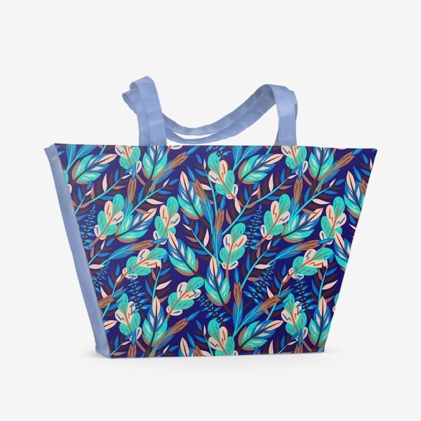 Пляжная сумка «Весенние листья в синеве»