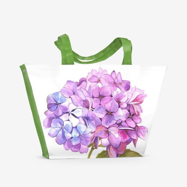 Пляжная сумка «Розовая гртензия»