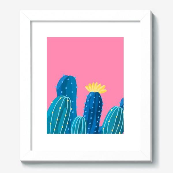 Картина «Голубые и синие кактусы на розовом фоне»