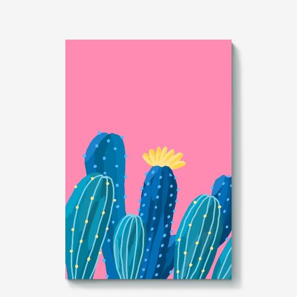 Холст «Голубые и синие кактусы на розовом фоне»