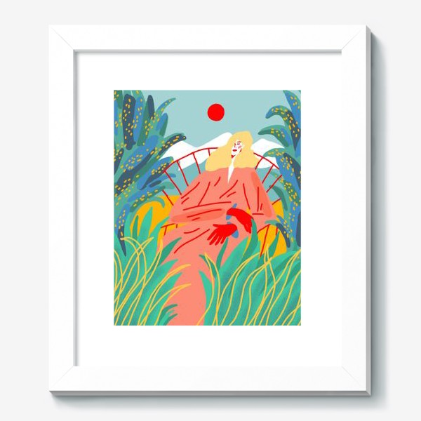 Картина «Девушка с белыми волосами на фоне природного пейзажа»