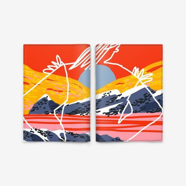 Обложка для паспорта «Силуэт девушки на фоне пейзажа»