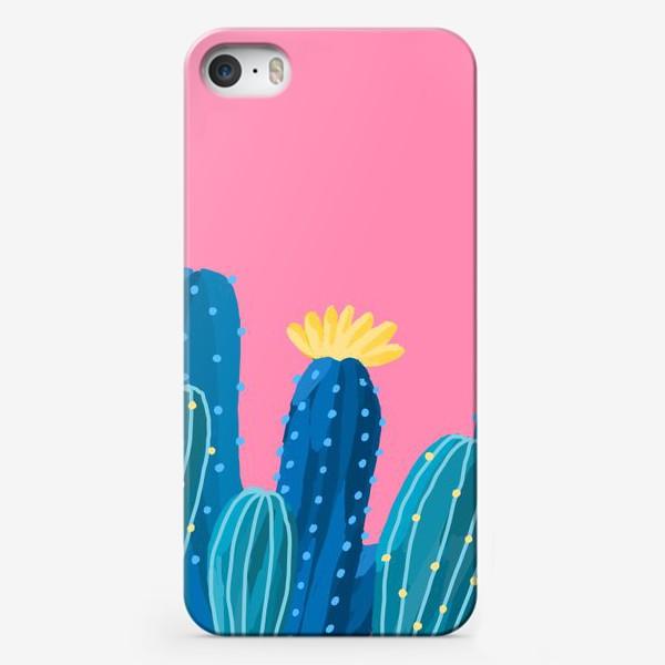 Чехол iPhone «Голубые и синие кактусы на розовом фоне»