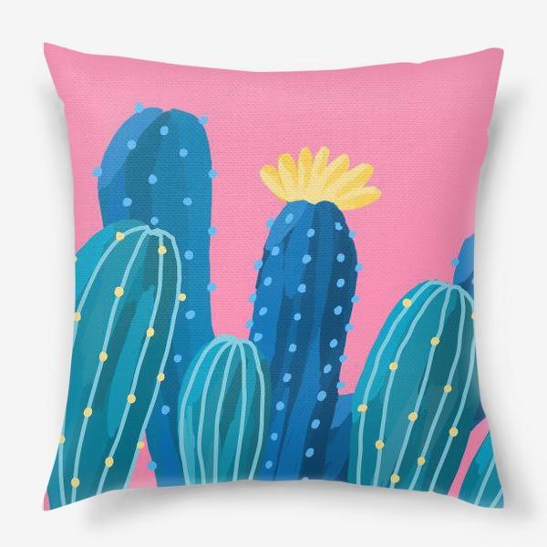Подушка «Голубые и синие кактусы на розовом фоне»