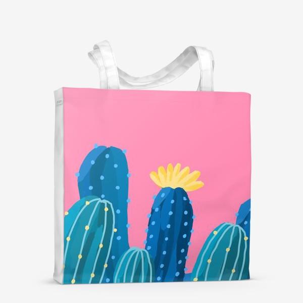 Сумка-шоппер «Голубые и синие кактусы на розовом фоне»