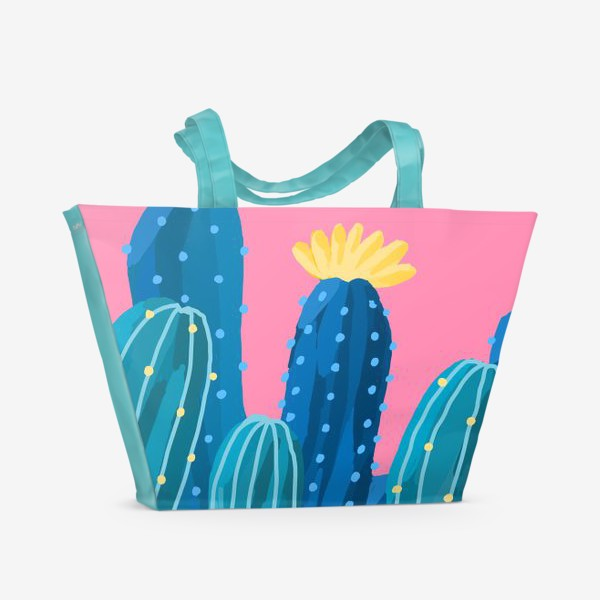 Пляжная сумка «Голубые и синие кактусы на розовом фоне»