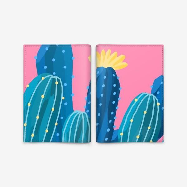 Обложка для паспорта «Голубые и синие кактусы на розовом фоне»