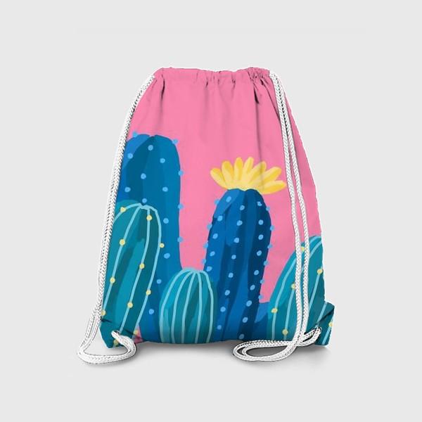 Рюкзак «Голубые и синие кактусы на розовом фоне»