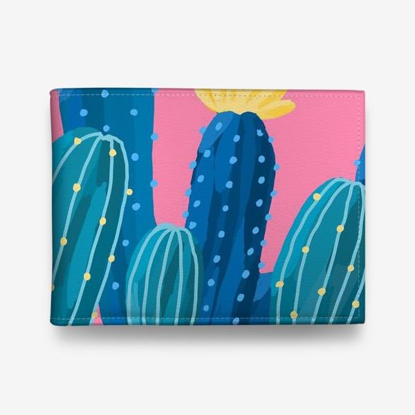 Кошелек «Голубые и синие кактусы на розовом фоне»