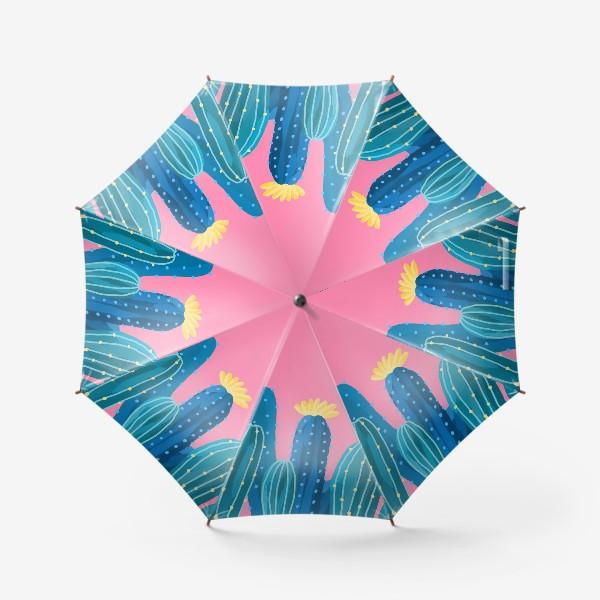 Зонт «Голубые и синие кактусы на розовом фоне»