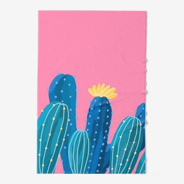Полотенце «Голубые и синие кактусы на розовом фоне»