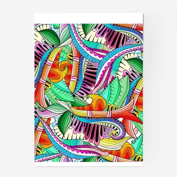 Постер «Абстрактные волны,листья и цветы»