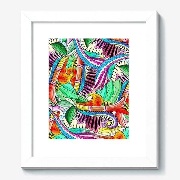 Картина «Абстрактные волны,листья и цветы»