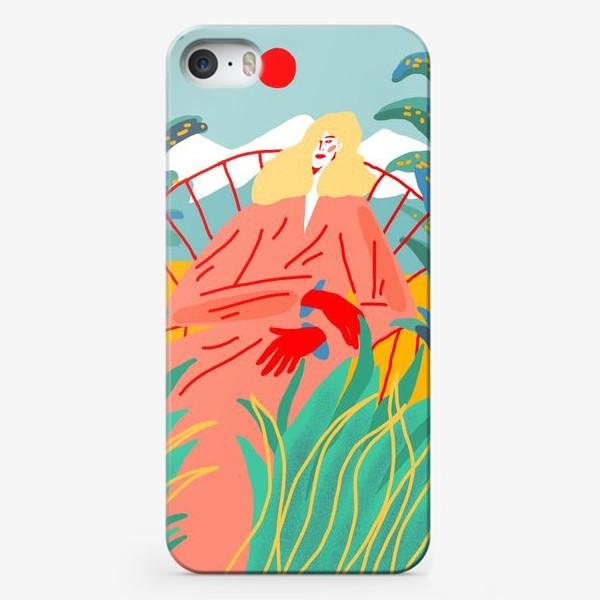 Чехол iPhone «Девушка с белыми волосами на фоне природного пейзажа»
