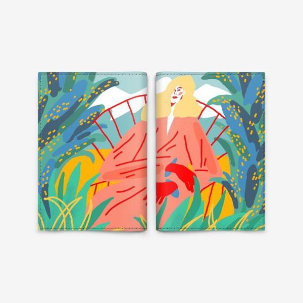 Обложка для паспорта «Девушка с белыми волосами на фоне природного пейзажа»