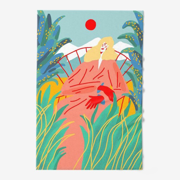 Полотенце «Девушка с белыми волосами на фоне природного пейзажа»