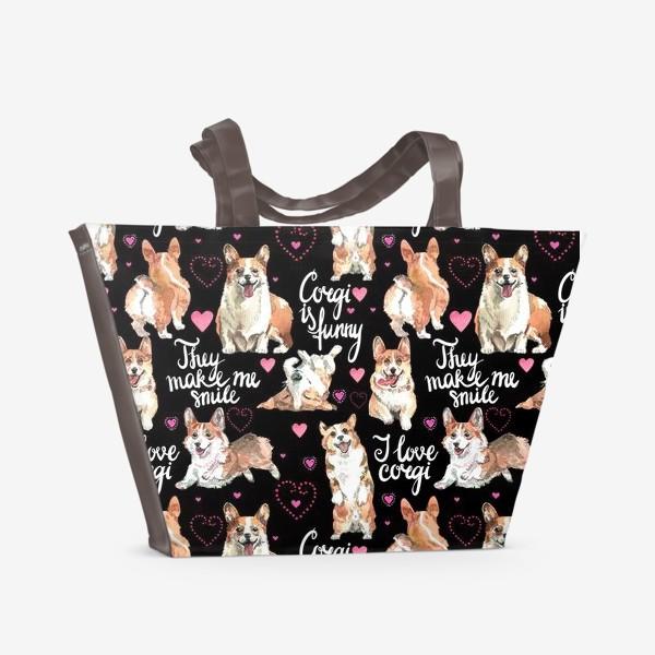 Пляжная сумка «Я люблю корги»