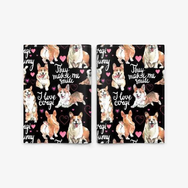 Обложка для паспорта «Я люблю корги»