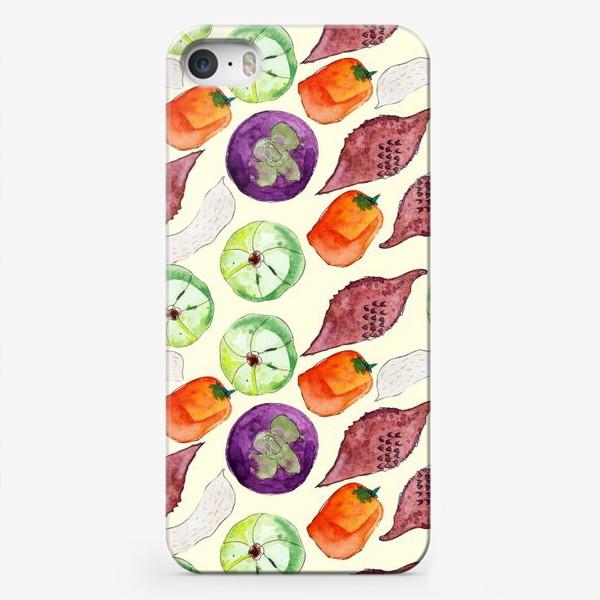 Чехол iPhone «Экзотические фрукты и орехи. Акварель»