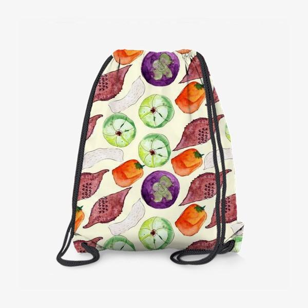 Рюкзак «Экзотические фрукты и орехи. Акварель»