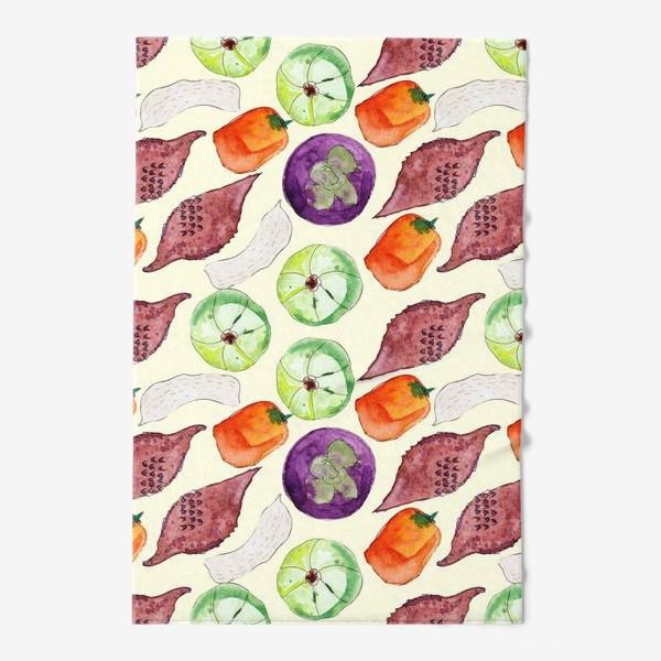 Полотенце «Экзотические фрукты и орехи. Акварель»
