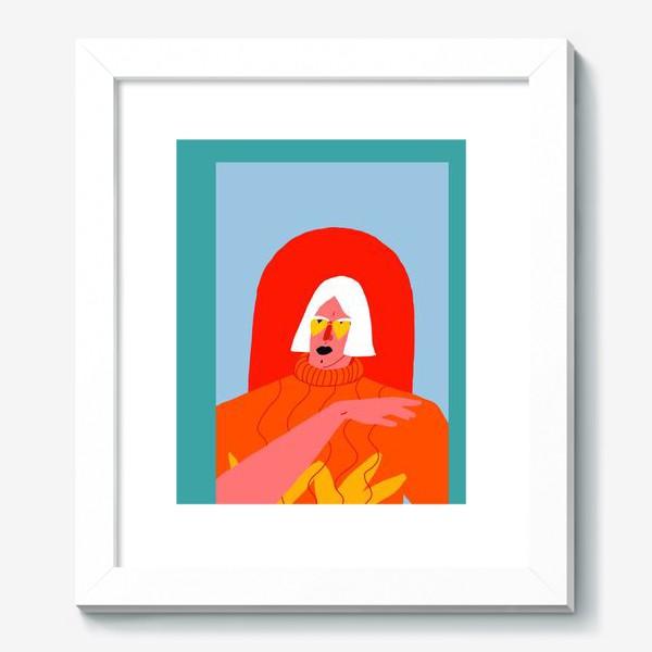 Картина «Портрет девушки со светлыми волосами в ярком оранжевом свитере»