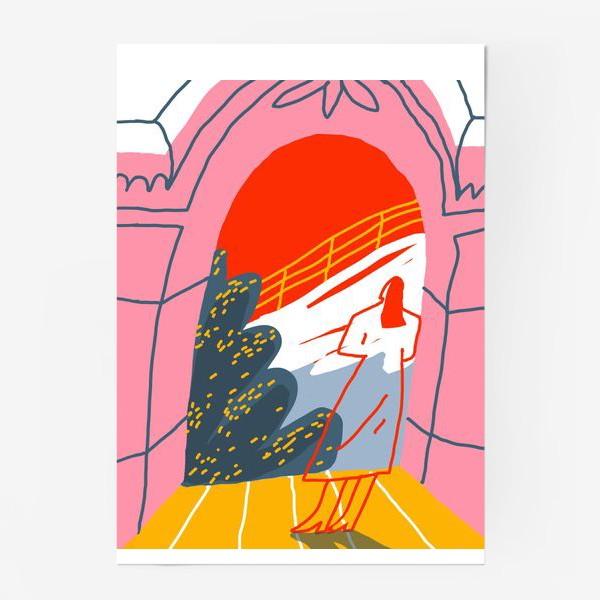 Постер «Девушка, смотрящая на горный пейзаж»