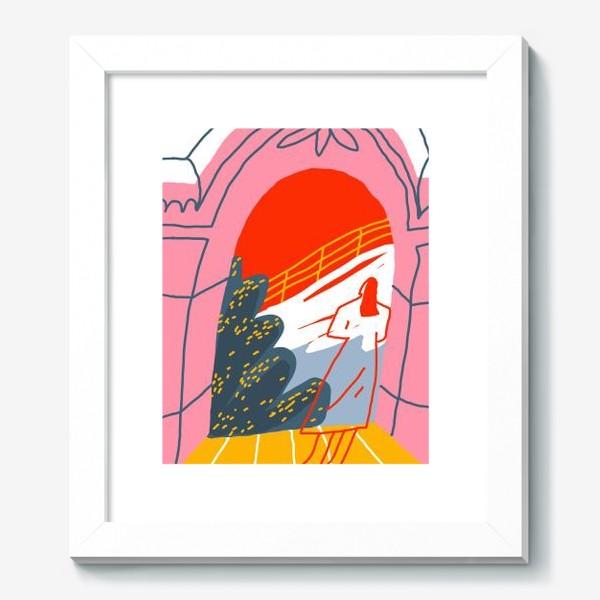 Картина «Девушка, смотрящая на горный пейзаж»