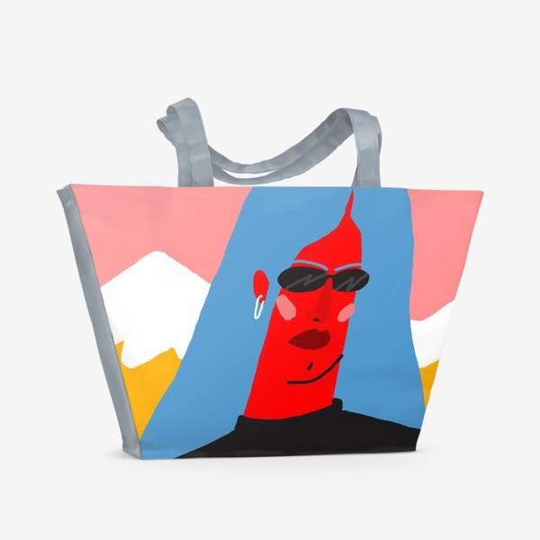 Пляжная сумка «Девушка с синими волосами в очках»