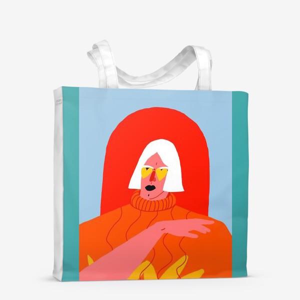 Сумка-шоппер «Портрет девушки со светлыми волосами в ярком оранжевом свитере»