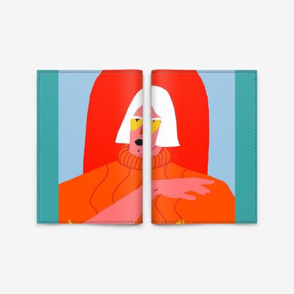 Обложка для паспорта «Портрет девушки со светлыми волосами в ярком оранжевом свитере»