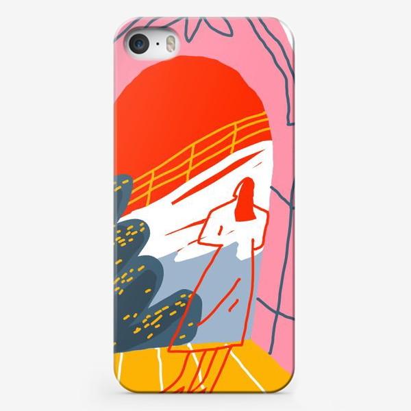 Чехол iPhone «Девушка, смотрящая на горный пейзаж»