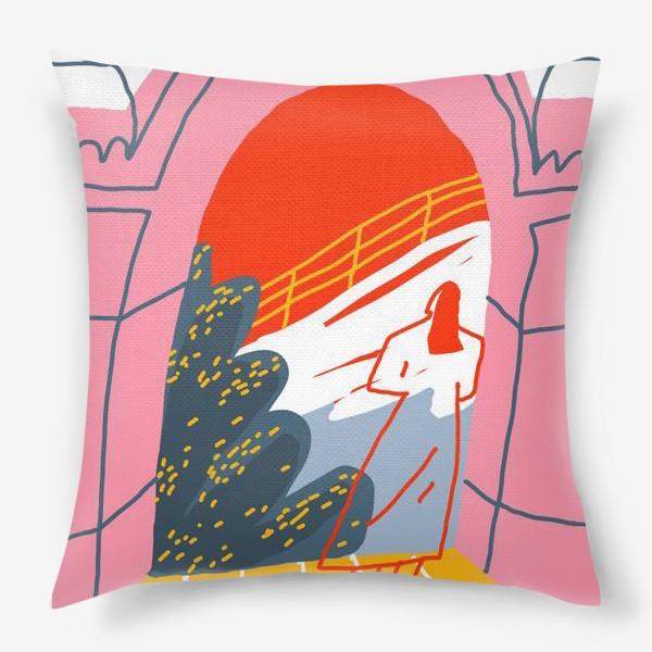 Подушка «Девушка, смотрящая на горный пейзаж»