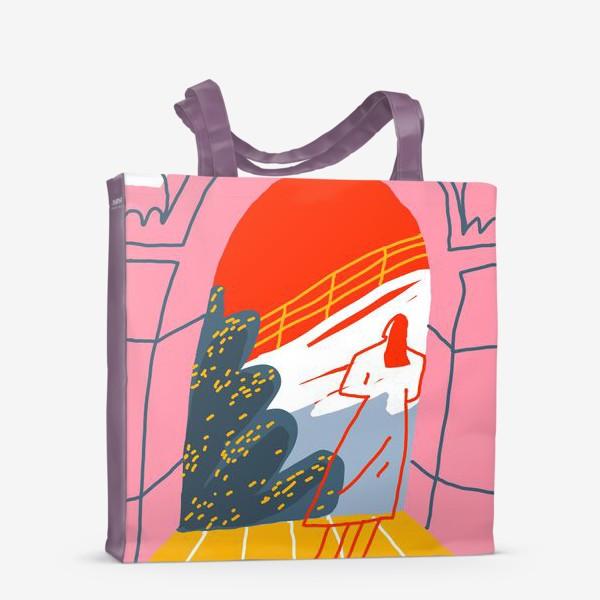 Сумка-шоппер «Девушка, смотрящая на горный пейзаж»