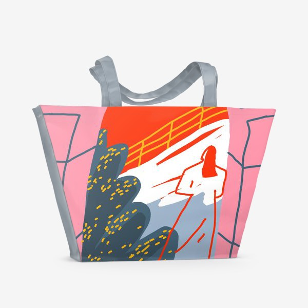 Пляжная сумка «Девушка, смотрящая на горный пейзаж»