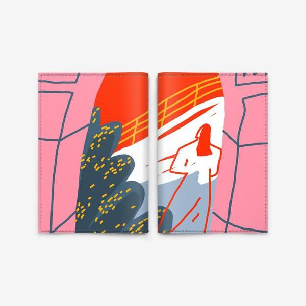 Обложка для паспорта «Девушка, смотрящая на горный пейзаж»