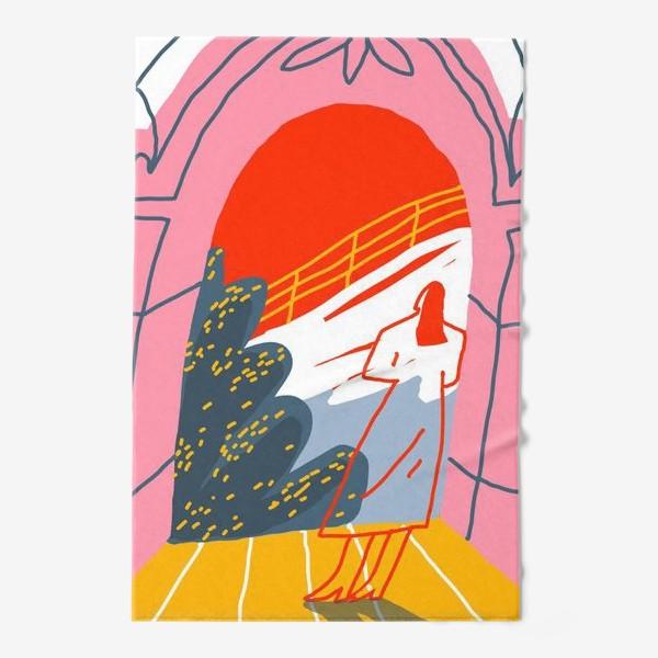 Полотенце «Девушка, смотрящая на горный пейзаж»