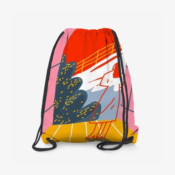 Рюкзак «Девушка, смотрящая на горный пейзаж»