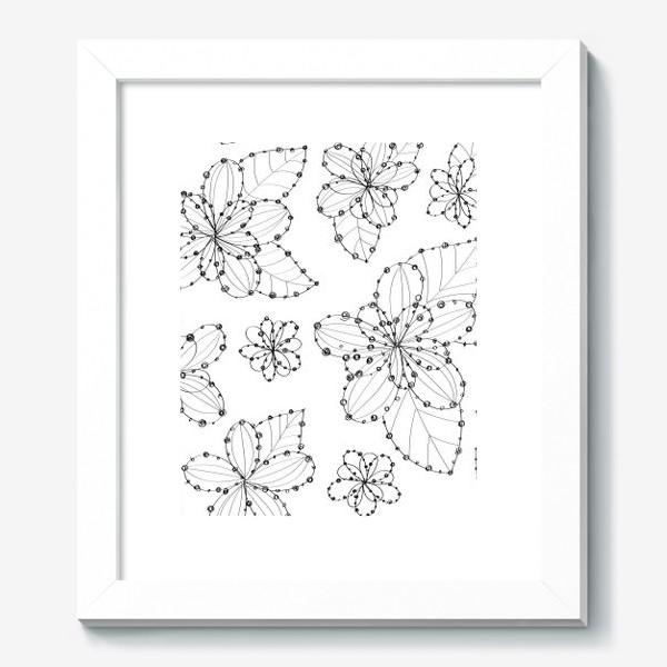 Картина «Цветочный узор из линий и точек»