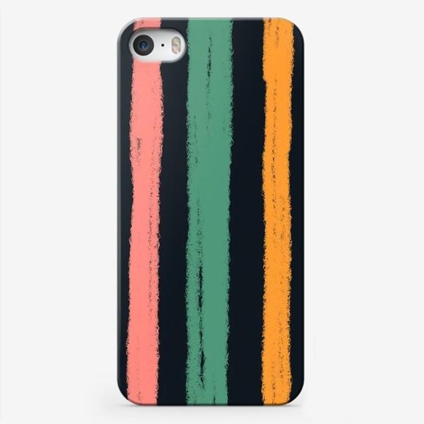 Чехол iPhone «Желтые, зеленые и розовые полосы на темном фоне»