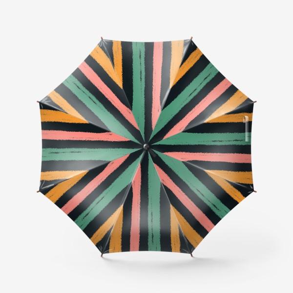 Зонт «Желтые, зеленые и розовые полосы на темном фоне»