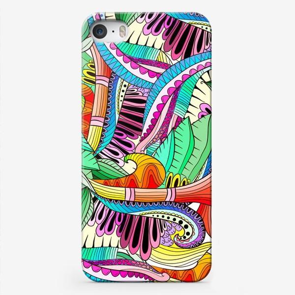 Чехол iPhone «Абстрактные волны,листья и цветы»