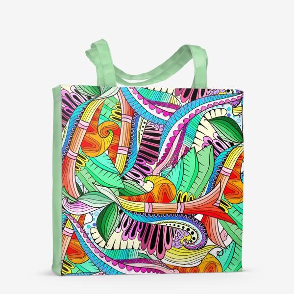 Сумка-шоппер «Абстрактные волны,листья и цветы»