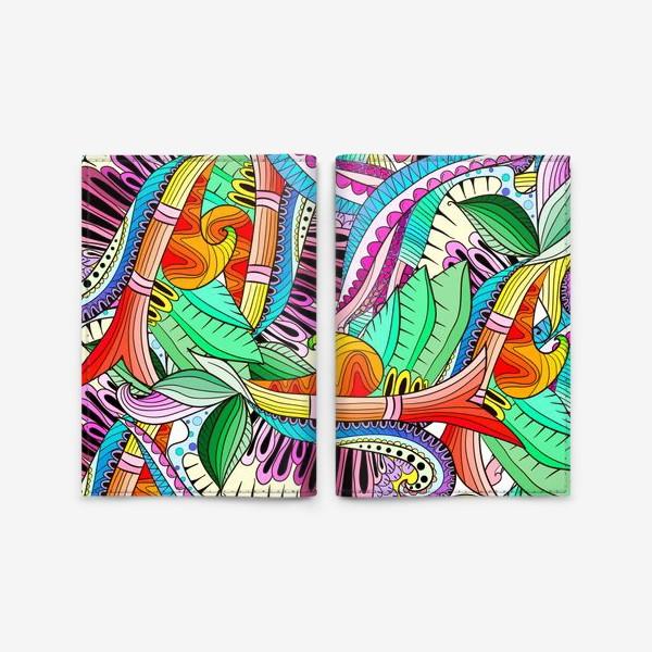 Обложка для паспорта «Абстрактные волны,листья и цветы»