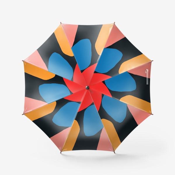 Зонт «Яркая абстракция с разноцветными фигурами на темном фоне»