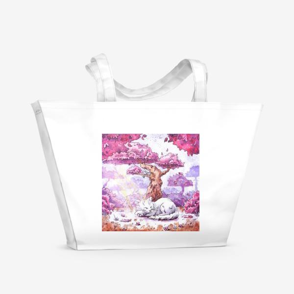 Пляжная сумка «Кот спит под сакурой»