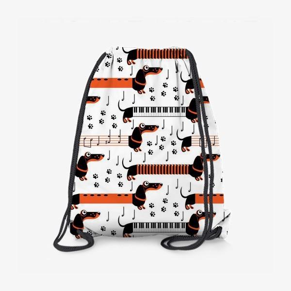 Рюкзак «Музыкальные таксы (паттерн)»
